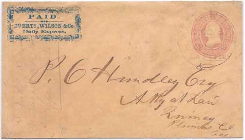 PAID. Everts, Wilson & Co. Daily Express. with Everts, Wilson & Co.'s Express La Porte handstamp from La Porte to Quincy