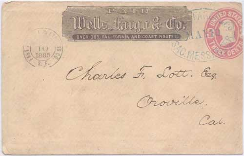 Fast Freight & Express Co. May 10 1865 S.F. (San Francisco) to Sacramento