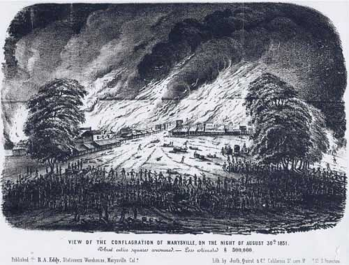 Lithograph illustrating the Marysville fire of Aug 30, 1851