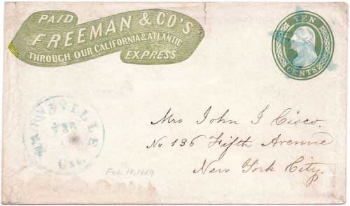 Freeman & Co.'s Express/Paid Through Our California & Atlantic franked first issue