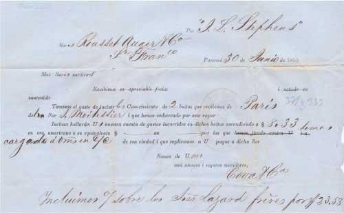J. L. Stephens Shipping Invoice