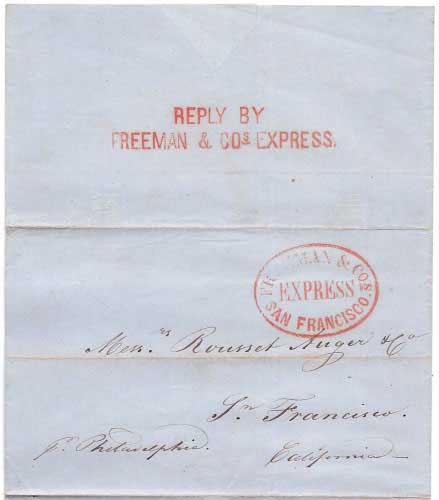 Freeman & Co's Express San Francisco with Reply by Freeman & Co's Express Letter from Jose Mina, Habana 25 Dbr 1855