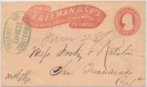 Freeman & Co's Express Coulterville in their Type 2 printed frank to San Francisco