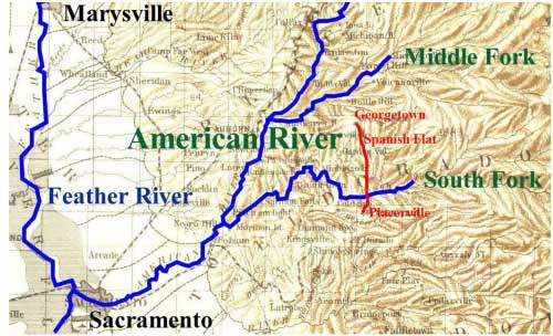 Map of the Feather & American Rivers with route from Placerville to Spanish Flat to Georgetown