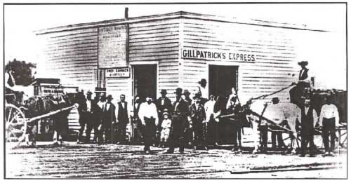The Antioch Wharf Building, with a sign for Gillpatrick's Express