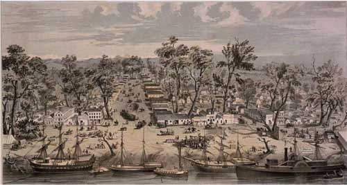 Lithograph of Sacramento in 1850