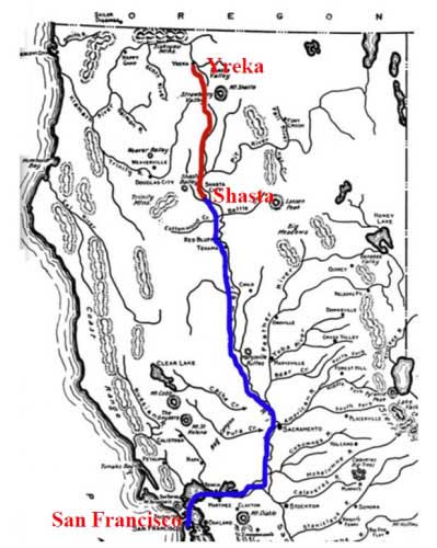 Map of route from Yreka to Shasta to San Francisco