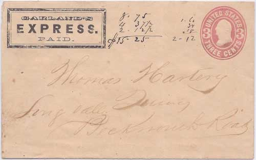 Garland's Express PAID in their franked envelope to Quincy, Long Valley, Beckwourth Road