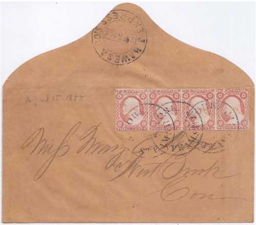 Hawes & Co.'s Express S.F. & N.Y. out of the mails from San Francisco to New York with double 6¢ postage paid by four 3¢ 1851 issue adhesives.