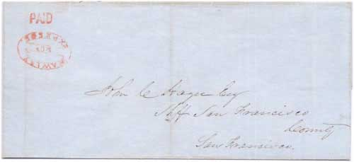 PAID by Hawley & Co.s Express from Sacramento City to San Francisco