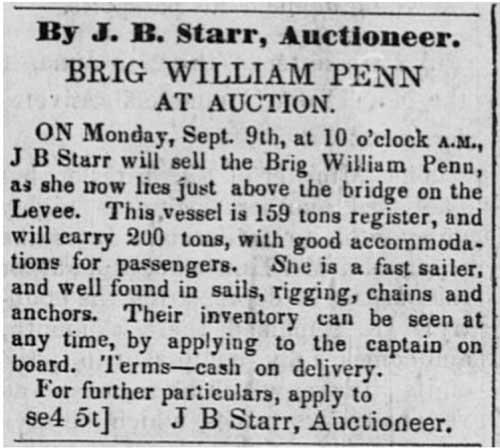 Sacramento Transcript dated Sep 7, 1850