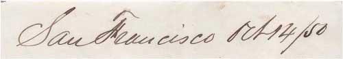 Dateline San Francisco Oct 14, 1850