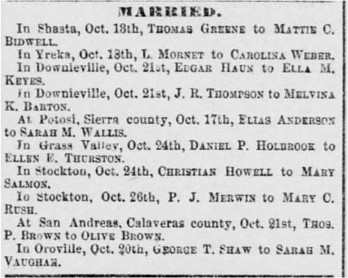 Thomas Greene in marriage notice in the Sacramento Daily Union on Oct 29, 1867