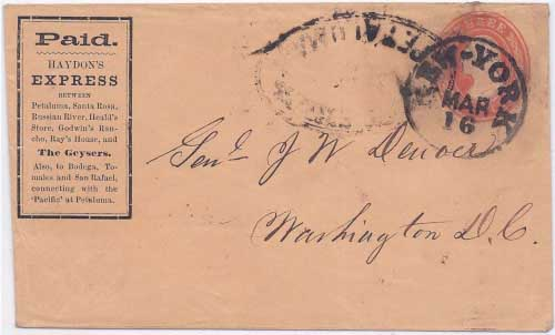 PAID Haydon's Express from one of the locations noted on the printed frank to Petaluma in Feb, 1856