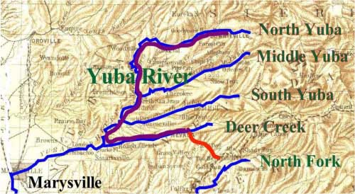 Monte Cristo was WNW of Downieville on the North Fork of the Yuba River. Little York was a mining camp between You Bet and Dutch Flat near the North Fork of the American River.