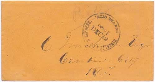 Hinckley & Co.'s Express, Denver City. Dec 12, 1860 from Denver City to Central City, Kansas Territory