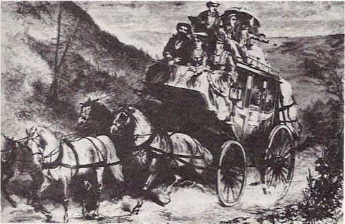"""Stagecoaching in the Mountains"" from Harper's Weekly"
