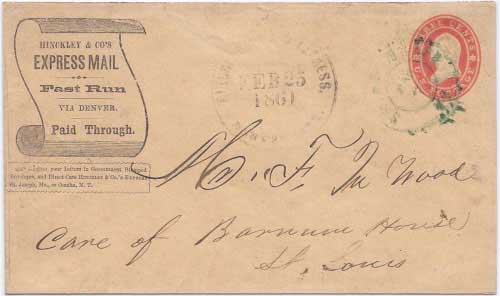 Hinckley & Co.'s Express Denver City Feb 25, 1860 to Saint Joseph, MO