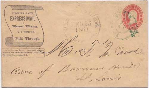 Hinckley & Co.'s Express Denver City Feb 25, 1860 to Saint Joseph, MO