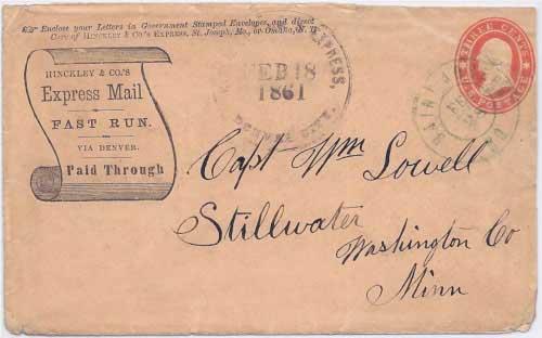 Hinckley & Co.'s Express Denver City Feb 18, 1861 to Saint Joseph, MO