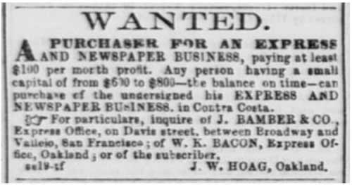 San Francisco Daily Alta California advertisement: Oct 15, 1858