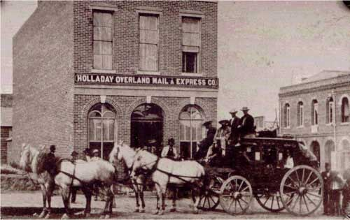 Holladay Overland Mail and Express Company office and stagecoach