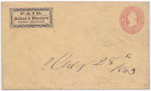 Holland & Wheeler's Daily Express with light Holland, Morley & Co. Express LaPorte Cal handstamp