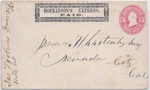 Hopkinson's Express PAID into Nevada City, California