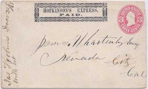 Hopkinson's Express PAID into Nevada City, California
