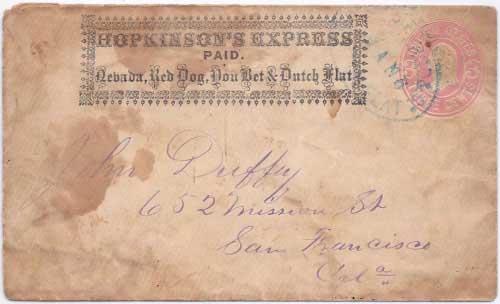 Hopkinson's Express PAID Nevada, Red Dog, You Bet & Dutch Flat into Dutch Flat