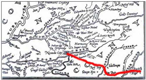 Map of Hopkinson's Express route into Dutch Flat