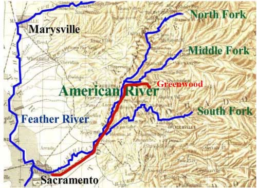 Map of Hunter & Cos Express route from Sacramento to Greenwood