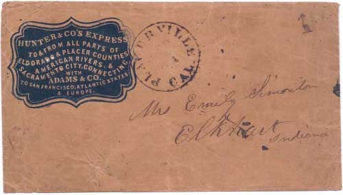 Hunter & Co's Express in their printed envelope to Placerville