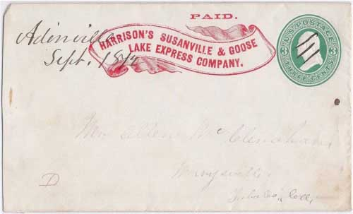 Harrison's Susanville & Goose Lake Express Company PAID likely from the Goose Lake area to Adinville