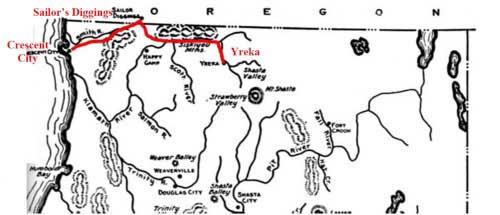Map of route from Crescent City to Sailor's Diggins, Oregon (and apparently on to Yreka)