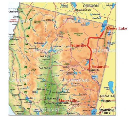 Map of route between Goose Lake and Susanville
