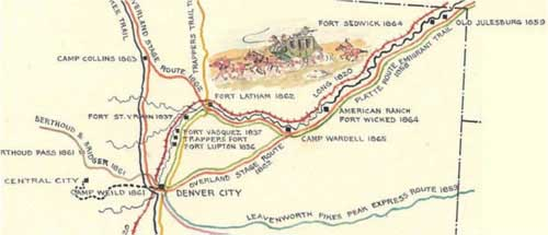 Jones & Russell's Pike's Peak Express followed the Platte River Route via Julesburg and Fort Kearny through Nebraska Territory to Leavenworth
