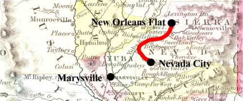 Map showing the route from Nevada City post office to New Orleans flat