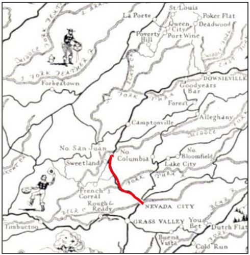 Map of route from North San Jaun to Nevada City