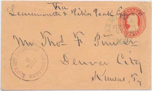 "Leav'n City & Pikes Peak Express Co. Jul 2 handstamp for delivery to Denver City ""Kansas Ty"""