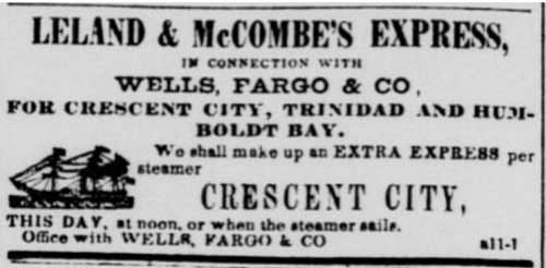 Apr 11, 1854 Leland & McCombe's ad from the Daily Alta California