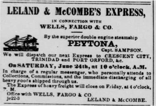 Jun 23, 1854 Leland & McCombe's ad from the Daily Alta California