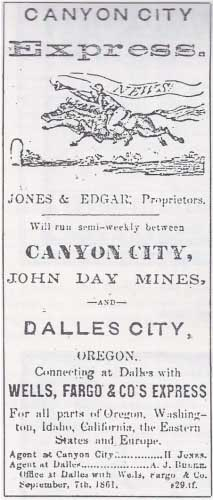 The earliest recorded advertisement for Jones & Edgar's Express, from The Dalles Morning State Journal of Oct 7, 1863.