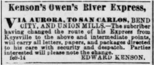 San Francisco Daily Alta California advertisement from Feb 9, 1864 noting Kenson's Owens River Express route change
