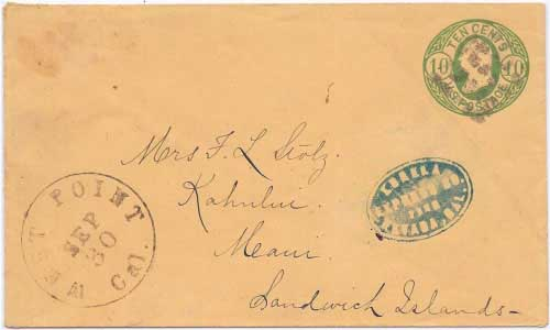 Negative blue Eureka Express Co. handstamp has been added to this entire
