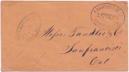 Langton & Bros. Express Downeyville handstamp is believed to be a fake added in the 1890's by San Francisco Bay Area stamp dealer Georges Carion