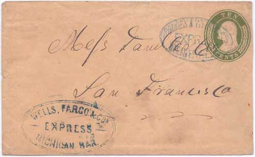 Fake Rhodes & Whitneys Express Weaverville handstamp applied to an otherwise genuine cover