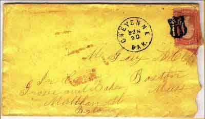 "Figure 10. Cheyenne, Dak. Jun 30 (1868) cancel with 3-bar ""US"" killer (cancels in black ink)."
