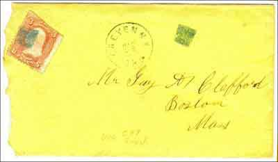 Figure 6. Cheyenne, Dak Apr 18 (1868) in greenish ink. Postmaster McLeland's creative juices must have been running low when he came up with this simple square killer which was used from Mar 23 to Apr 18, 1868. The reverse of this cover, shown in Figure 7, provides a nice overview of the businesses of early Cheyenne (from the author's collection).