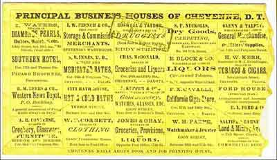 "Figure 7. Cheyenne Dak, Apr 18, 1868. Reverse of cover shown in Figure 6, showing the ""Principal Business Houses of Cheyenne, D.T."""